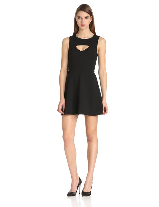 French Connection Feather Ruth Classic Cut Out Fit and Flare Dress in black